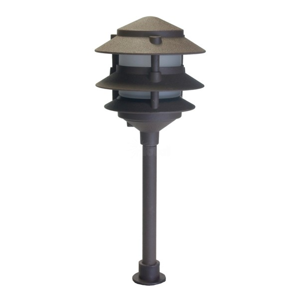 Landscape lighting low voltage frosted three tier pagoda light for Low voltage landscape lighting systems