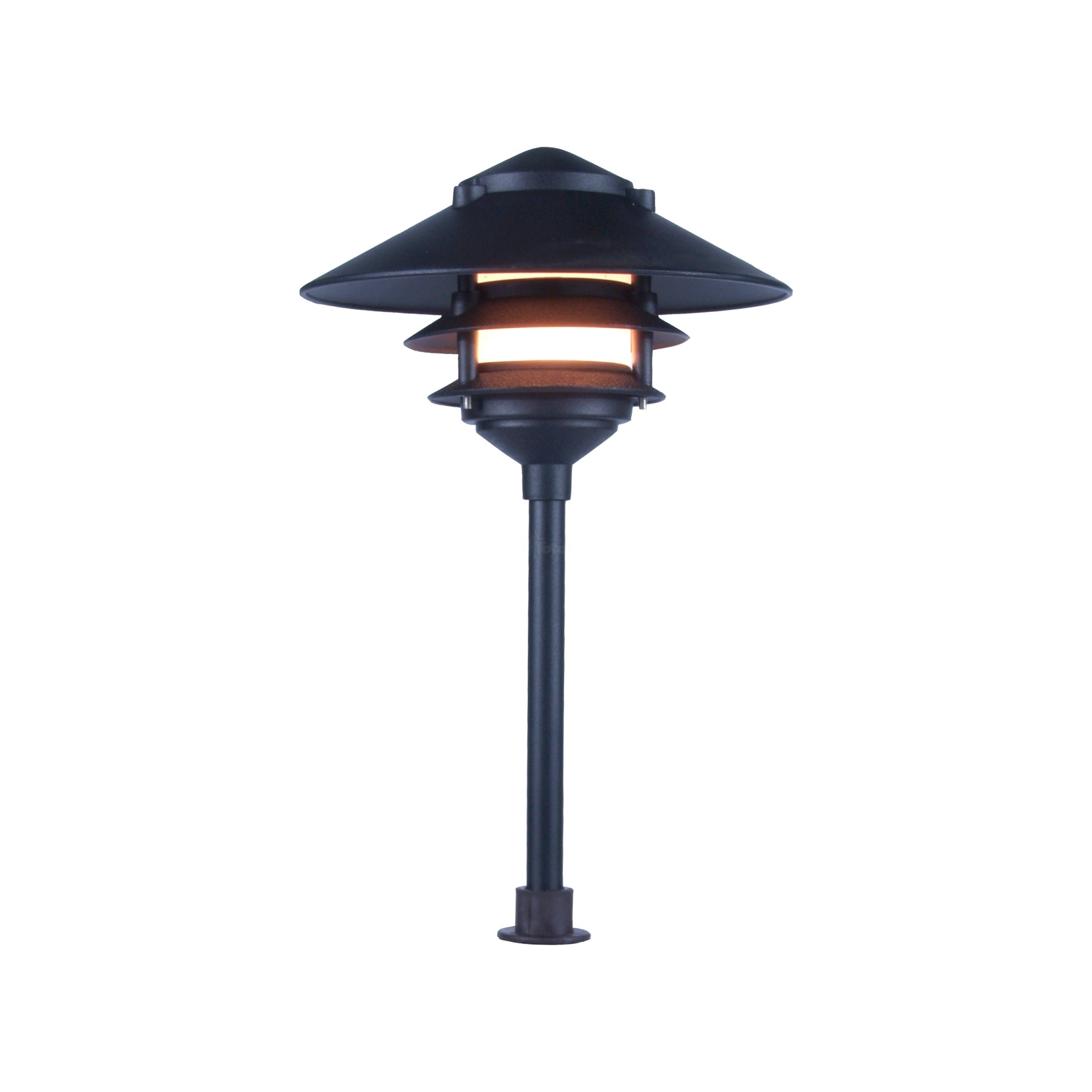 Landscape lighting low voltage clear lens wide brim pagoda for Low voltage walkway lighting sets