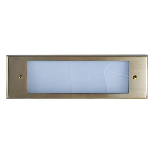 Outdoor low voltage polished brass rectangle surface brick step wall LED light kit