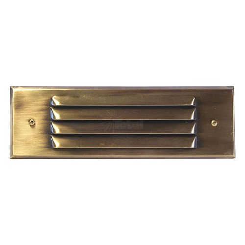 Outdoor Low Voltage Louvered Antique Brass Glass Lens