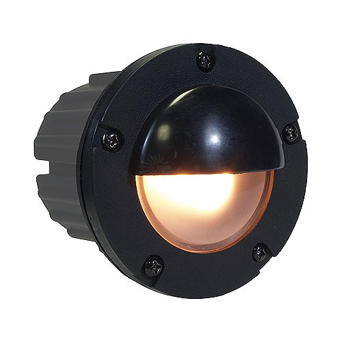 Hooded Led Wall Ground Light: Outdoor Low Voltage Hooded PBT Composite Round Recessed