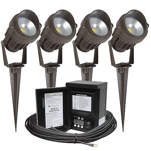 Outdoor Lamp Wiring Kit: Outdoor LED Landscape Lighting Kit, Four Spot Lights