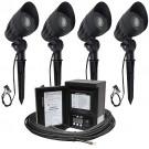 Outdoor Malibu LED landscape lighting kit, four LED-8301-9601-01 flood light kit, 45watt power pack photocell, digital timer, 80-foot cable