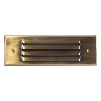 Outdoor low voltage louvered antique brass rectangle surface brick step wall light 36watt kit