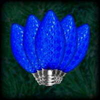 LED blue C7 Christmas bulbs faceted, replacement, spare, 25 pack, 120VAC