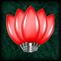 LED red C7 Christmas bulbs smooth, replacement, spare, 25 pack, 120VAC