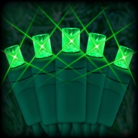 "LED green Christmas lights 50 5mm mini wide angle LED bulbs 6"" spacing, 23ft. green wire, 120VAC"