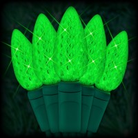 "LED green Christmas lights 35 C6 LED strawberry style bulbs 4"" spacing, 12ft. green wire, 120VAC"
