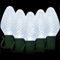 "LED cool white Christmas lights 50 C7 faceted LED bulbs 8"" spacing, 34.2ft. green wire, 120VAC"
