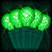 "LED green Christmas lights 50 G12 mini globe LED bulbs 4"" spacing, 17ft. green wire, 120VAC"