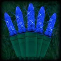 "LED blue Christmas lights 50 M5 mini LED bulbs 6"" spacing, 23ft. green wire, 120VAC"