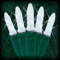 "LED cool white Christmas lights 50 M5 mini LED bulbs 2.5"" spacing, 12ft. green wire, 120VAC"