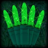 "LED green Christmas lights 50 M5 mini LED bulbs 2.5"" spacing, 12ft. green wire, 120VAC"