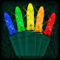 "LED multi color Christmas lights 50 M5 mini LED bulbs 2.5"" spacing, 12ft. green wire, 120VAC"