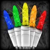 "LED multi color Christmas lights 50 M5 mini LED bulbs 6"" spacing, 23ft. white wire, 120VAC"