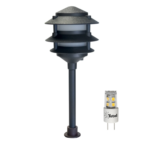 Black LED Outdoor Landscape 3-Tier Pagoda Light