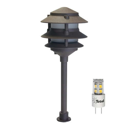Bronze LED Outdoor Landscape 3-Tier Pagoda Light