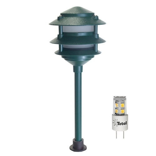 LED outdoor landscape lighting green 3-tier pagoda path light warm white low voltage