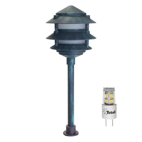 Verde Green LED Outdoor Landscape 3-Tier Pagoda Light