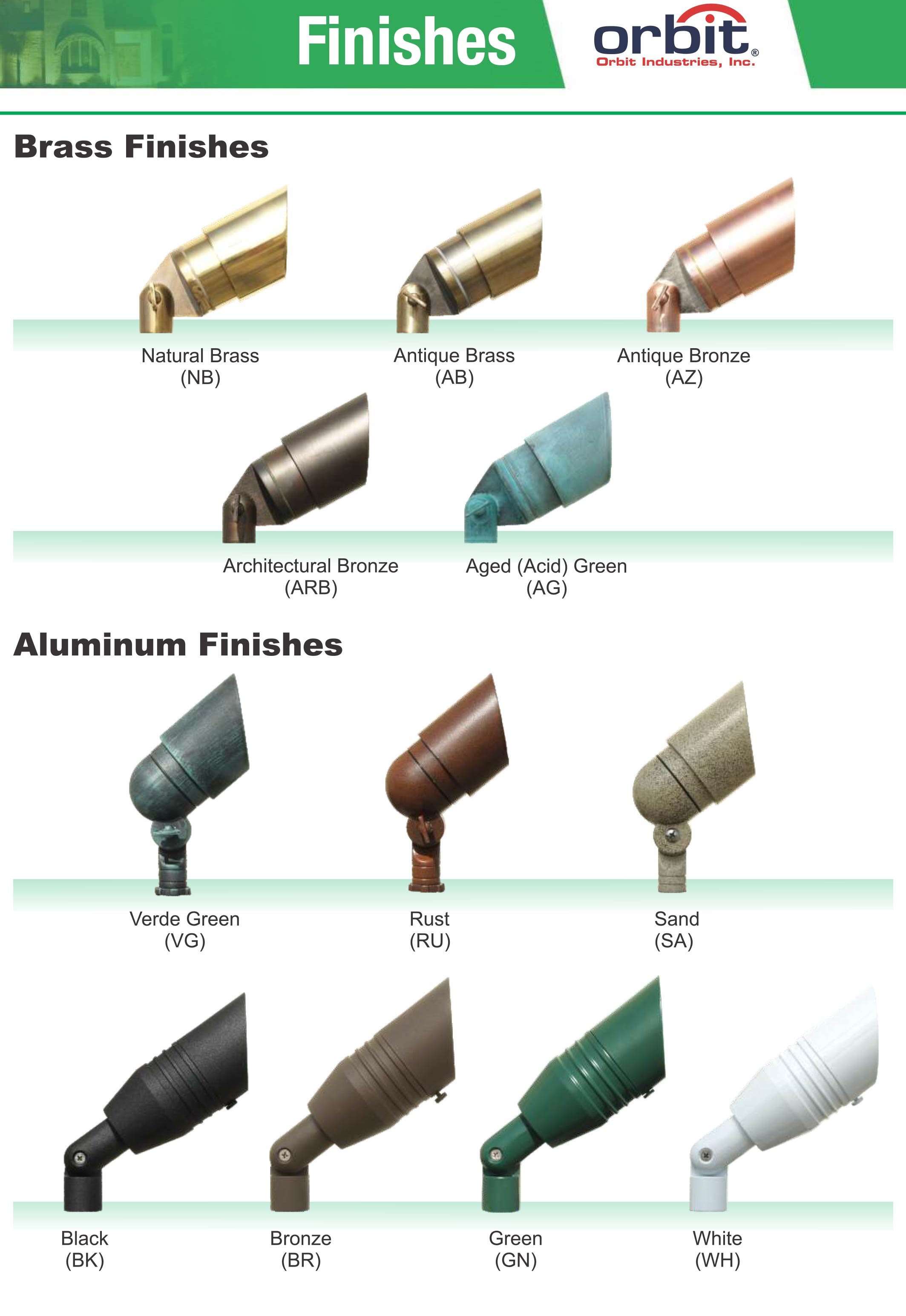 Orbit Industries Color Finish Options Chart